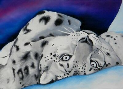 ACEO SNOW LEOPARD Mini Cat Art Print of Painting VERN