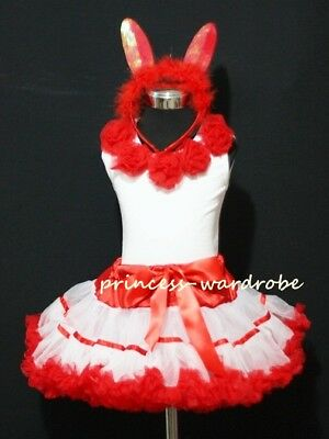 Easter Set Red White Trim Pettiskirt Red Rose Top 1-8Yr