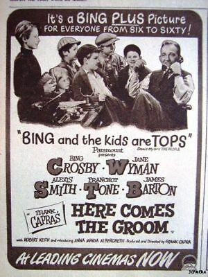 Small 'HERE COMES THE GROOM' Film ADVERT: 1951 Movie Ad