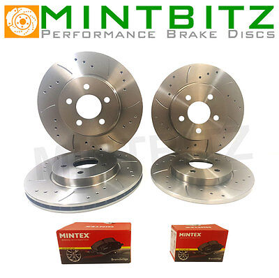 VW Transporter T4 1.9 Drilled & Grooved Brake Discs Front & Rear & Mintex Pads