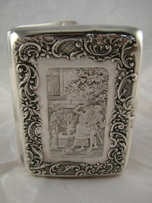 Superbly Decorated Solid Silver Cigarette Case 1898