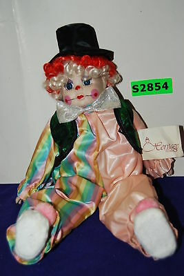 HERITAGE Porcelain Musical Clown Doll w / Tag Excellent Condition  (#S2854)