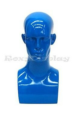 Male Fiberglass Mannequin Head Bust Wig Hat Jewelry Display #EraBlue