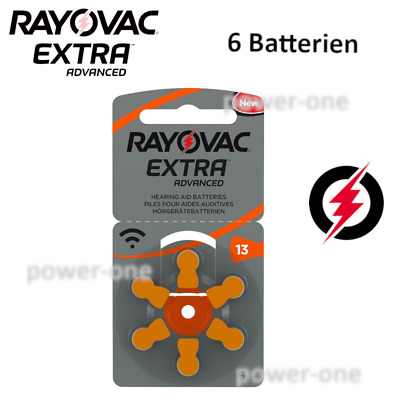 6 x Hörgerätebatterien Typ 13 Rayovac Extra Advanced  7,9 x 5,4 mm