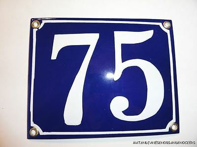 Edwardian Style Enamel Door Number 75 Sign Plaque