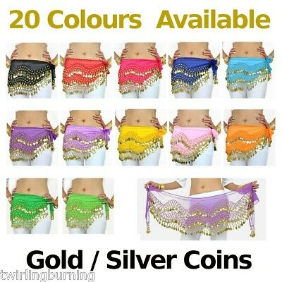 1.5m Long Belly Dance Gold/Silver Coin Belt Hip Scarf Skirt Free Post AB01