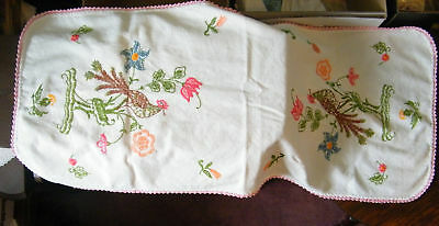 Collectible Handmade Embroiderd Dresser Scarf Peacock Floral WOW