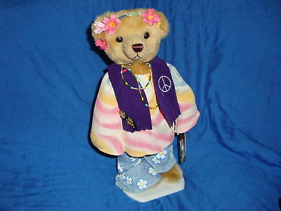 1999 Brass Button Bear Hippie Flower Child IVY 12""
