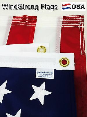4X6 FT Windstrong US American Flag SolarMax Nylon 6 Rows Stitching & Embroidered