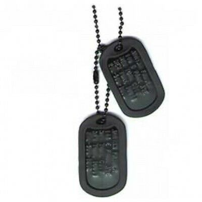 US Military Black Dog Tag Set (2) W/ Chain & Silencers
