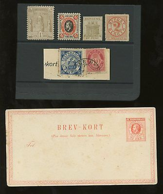 Norway Locals 1866-98 Mint+Stationery+ Piece 6 Items
