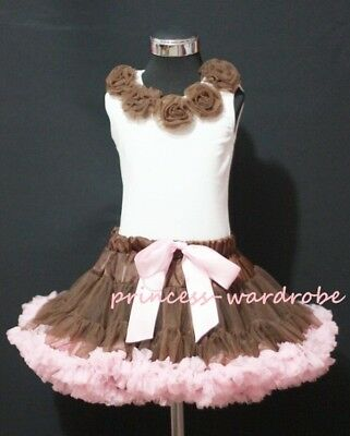 Brown Light Pink Pettiskirt Brown Pettitop Tutu 1-8Yrs