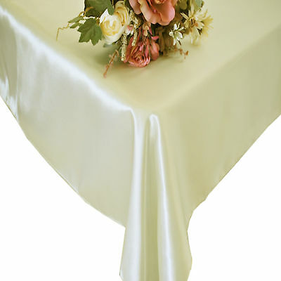 "10 Rectangular 90""X156"" Banquet Satin Tablecloths 30 Colors 8ft Table Made USA"