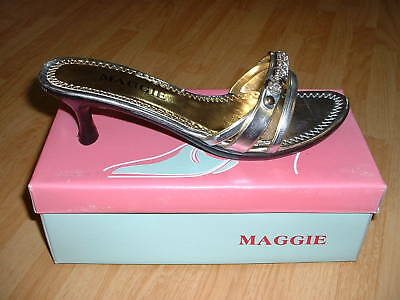 New Women Maggie Low Heal Fancy Shoes Size 6 Color Silver, Nice & Comfortable!