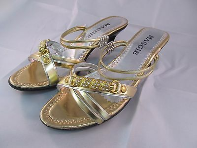 New Women Maggie Low Heal Fancy Shoes US Size 10 GOLD