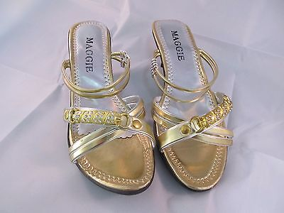 New Women Maggie Low Heal Fancy Shoes US Size 9 Gold