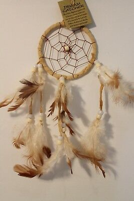 INDIAN DREAMCATCHER IN CREAM SUEDE feather /dcle09cre