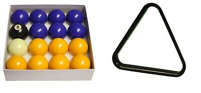 "BLUE AND YELLOW 2"" POOL TABLES BALLS SET with 1-7/8"" Cue Ball"