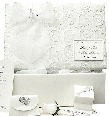 PERSONALISED Heart/Swirl Wedding Keepsake Box 5 Motifs/10 Colours + Extras STD