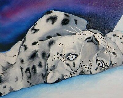 18x24 SNOW LEOPARD ORIGINAL Big Oil Painting Art VERN