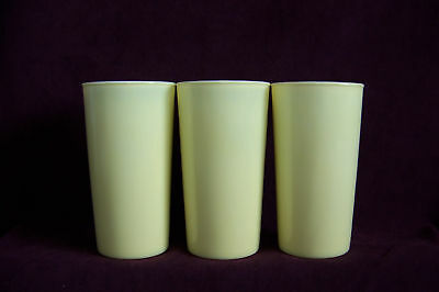 Lot of 3 pastel yellow fired on white glass tumblers