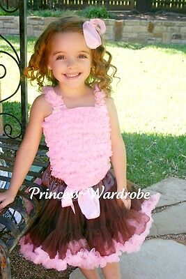 Brown Light Pink Pettiskirt Pink Ruffle Pettitop 1-8Yrs