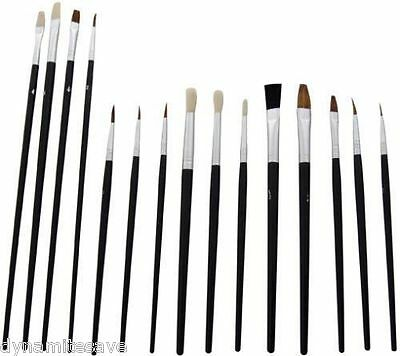 15 x PAINT BRUSHES FOR MODEL MAKING AIRFIX REVELL PLANE SHIP TANK KIT CRAFT
