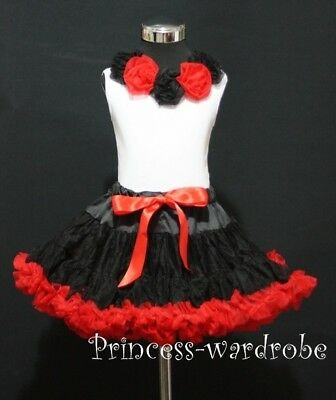 Black Red FULL Pettiskirt Black Red Pettitop Set 1-8Yrs