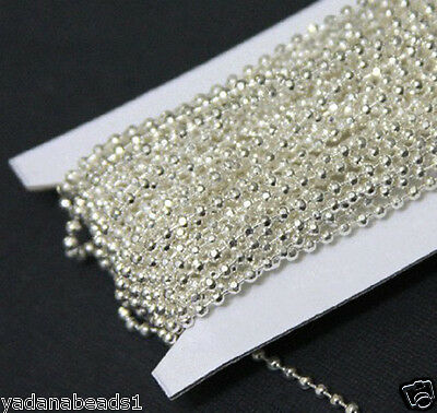 25ft spool silver plated 2.4mm faceted ball chain