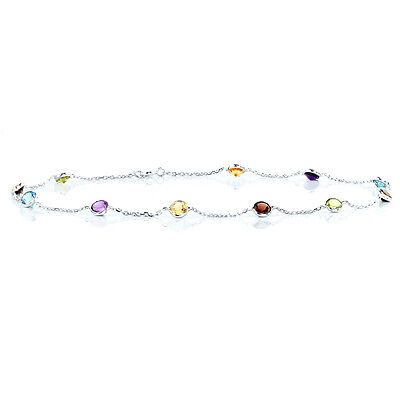 14K White Gold Anklet Bracelet With Round Shaped Gemstones 10 Inches