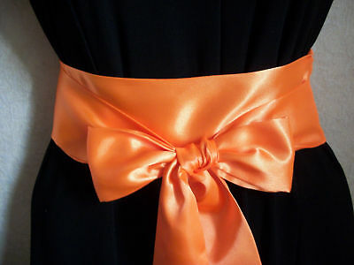 "2.5""X60"" NEON ORANGE SATIN SASH SELF TIE BOW BELT FABRIC RIBBON for PARTY DRESS"