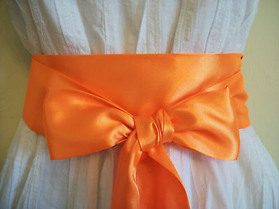 "3.5""x60"" Neon Orange Satin Fabric Sash Belt Self Tie Bow For Party Prom Dress"