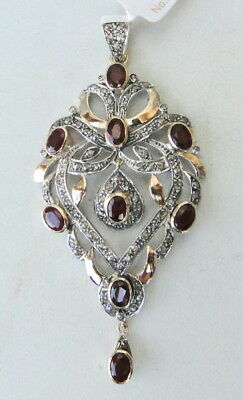 Victorian Diamond Natural Ruby Gold Silver Pendant Ind