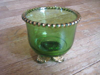 NORTHWOODS Emerald Green Glass Footed Spooner/Bowl Gold-COLORADO PATTERN