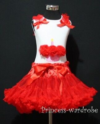 Hot Red Pettiskirt Tutu & Birthday Cupcake Top Set 1-8Y