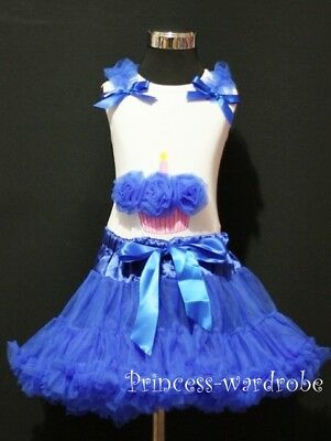 Royal Blue Pettiskirt Tutu & Birthday Cupcake Top 1-8Y