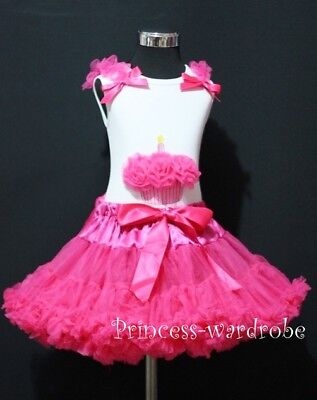 Hot Pink Pettiskirt Tutu and Birthday Cupcake Top 1-8Y