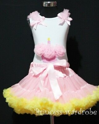 Light Pink Yellow Pettiskirt with Pink Cupcake Top 1-8Y