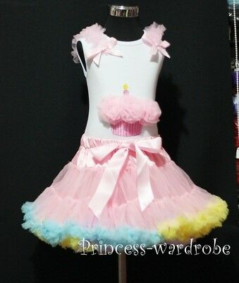 Light Pink Rainbow Pettiskirt and Pink Cupcake Top 1-8Y