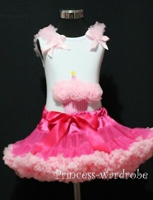 Hot Light Pink Pettiskirt with Pink Cupcake Top 1-8Y