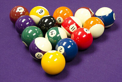 "Spots And Stripes 2"" POOL TABLES BALLS SET with 1-7/8"" Cue Ball"