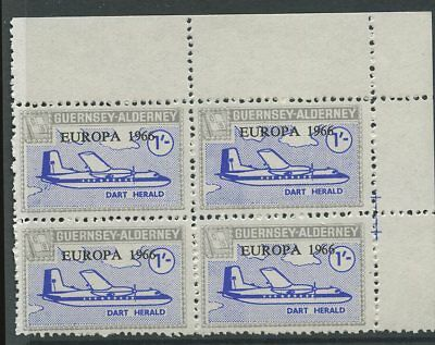 Guernsey ALDERNEY 1966 Europa 1/- PERF PROOF block 4