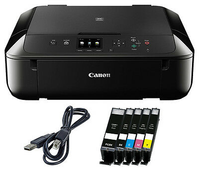 Set Canon Pixma MG 5750 DRUCKER SCANNER KOPIERER WLAN +5x XL TINTE + USB