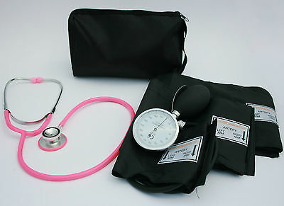 Blood Pressure Sphygmomanometer and Pink Stethoscope
