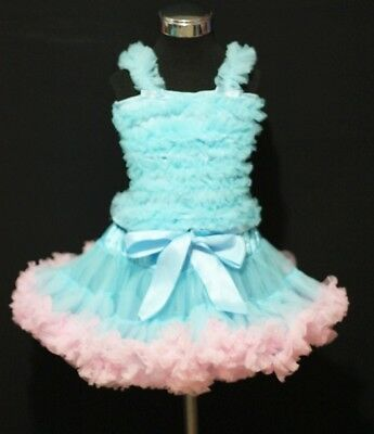 Light Blue Pink Pettiskirt Blue Ruffles Pettitop 1-8Yrs
