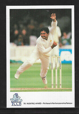 Mushtaq Ahmed Pakistan Official Tccb Cricket Postcard