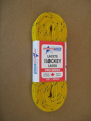 """Hockey Skate Laces 130"""" - 330cm YELLOW - WIDE WAXED"""