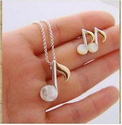 Cute white and gold coloured musical note earrings and necklace set