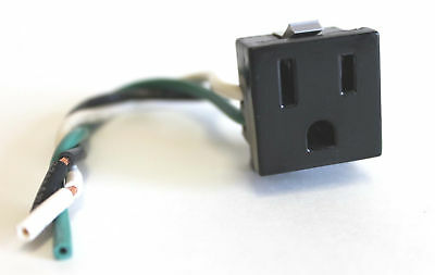 """2pcs NEMA 5-15R Snap-in Power Inlet w/ 5"""" pigtail wires"""