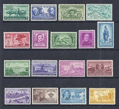 US 1949-1950 Complete Commemorative Year Set of 17, 981-997 - MNH